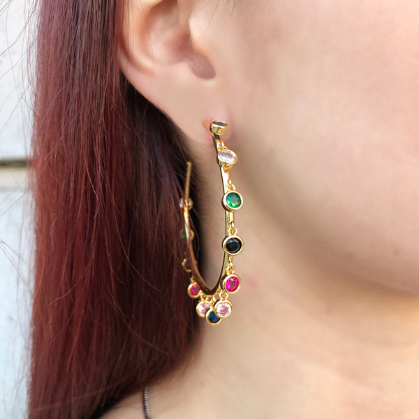 Multi Dangling Stones Hoop Earrings
