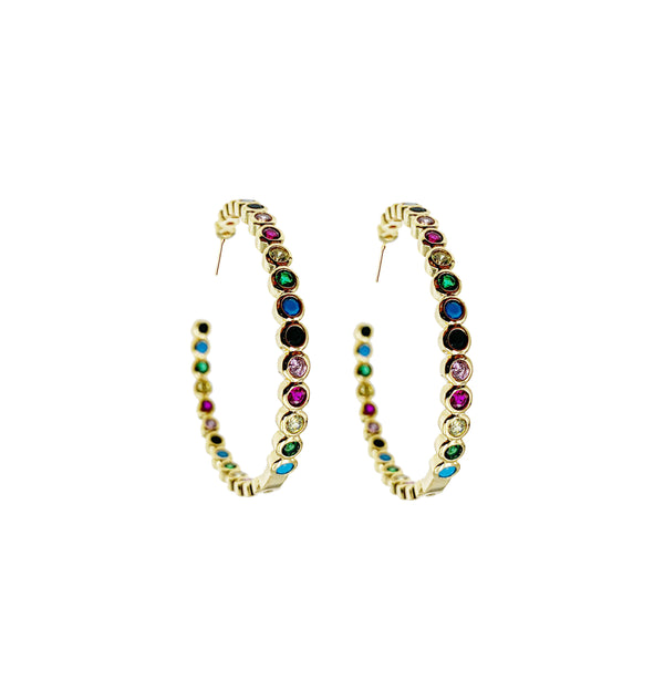Multi Bezel Hoop Earrings