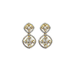 Petite Baguette Double Circle Earrings