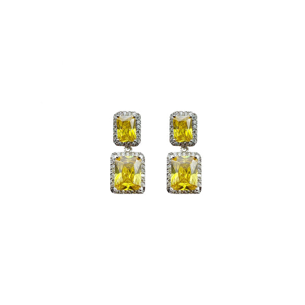 Petite Canary Emerald Cut Earrings