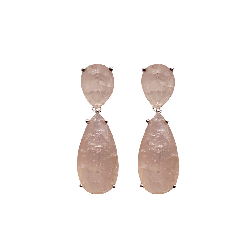 Pink Agate Double Teardrop Stone Earrings