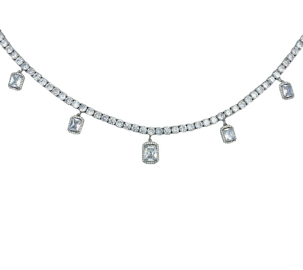Princess Cut Dangle Tennis Necklace