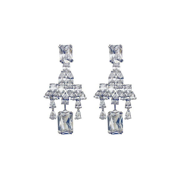 Princess Cut Dangling Diamondesque Earrings