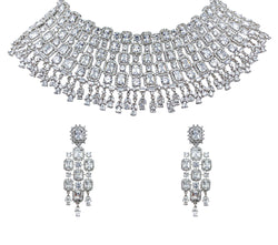 Princess Cut Halo Diamondesque Necklace and Earrings