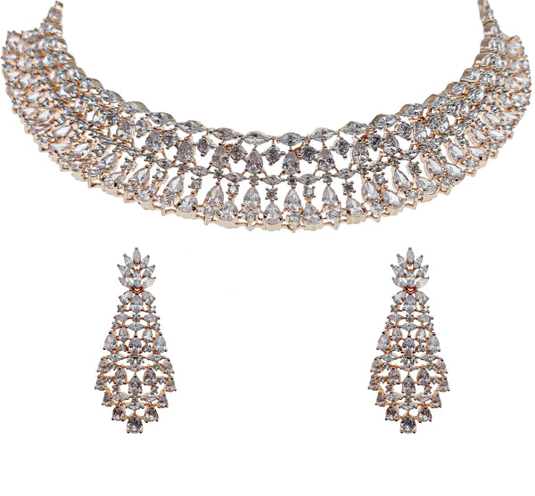 product-rose-gold-cluster-collar-necklace-and-earrings-set-kamal-beverly-hills