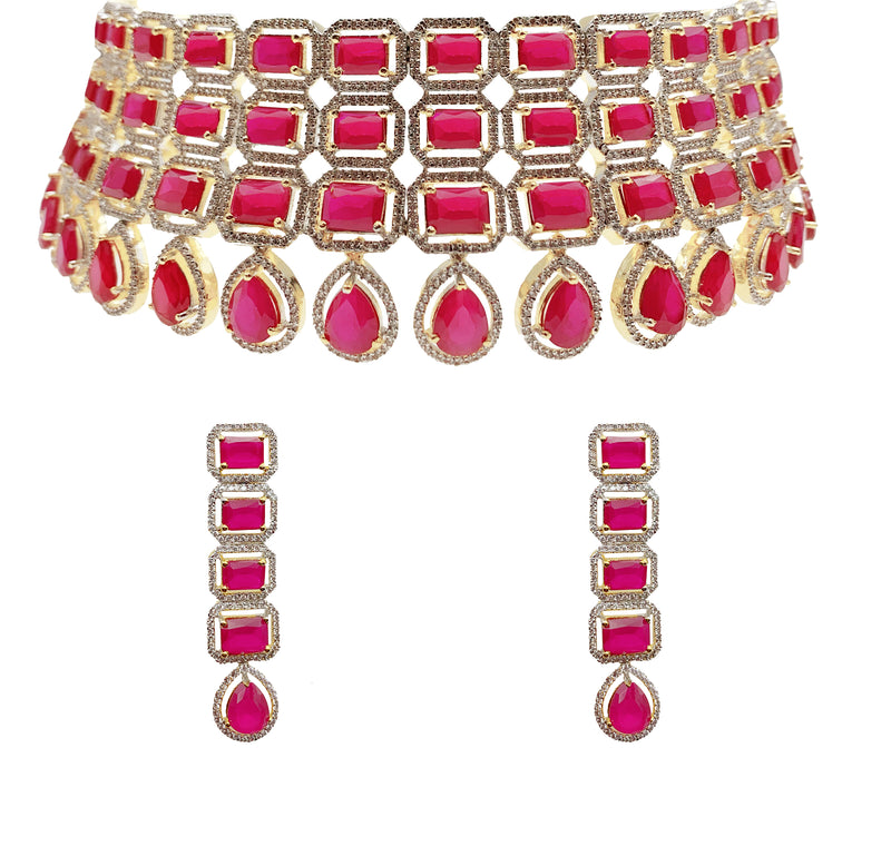 Ruby Princess Cut Stacked Choker Necklace & Earrings