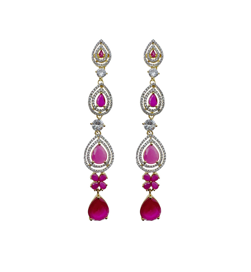Ruby Teardrop Long Earrings