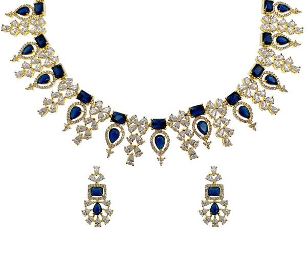 Sapphire Halo Flower Necklace & Earrings