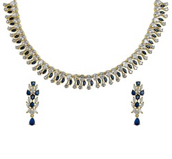 Sapphire Marquis Drop Necklace & Earrings