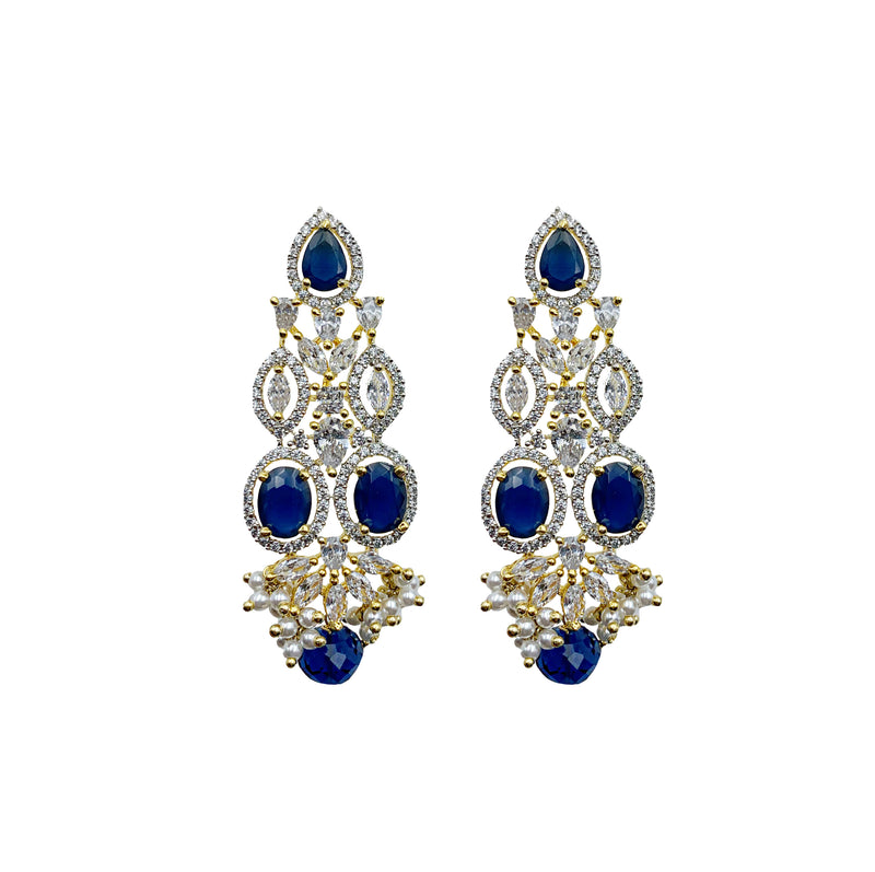 Sapphire Ovals Diamondesque Collar Necklace & Earrings