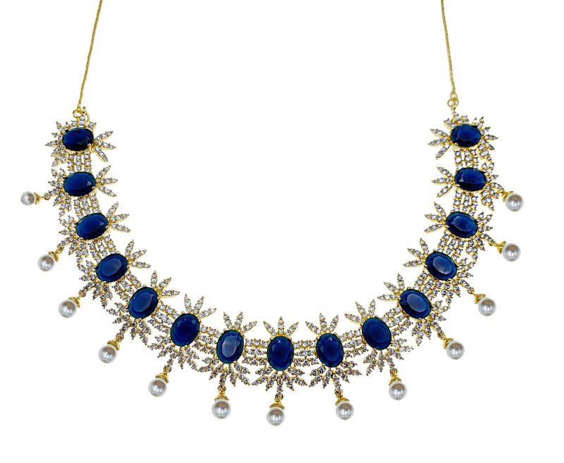 Sapphire Pearl Drop Necklace & Earrings
