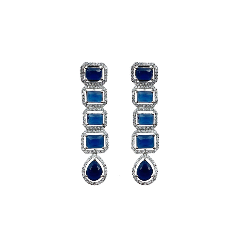 Sapphire Princess Cut Stacked Choker Necklace & Earrings