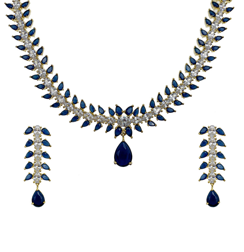 Sapphire Teardrop Pendant Necklace & Earrings