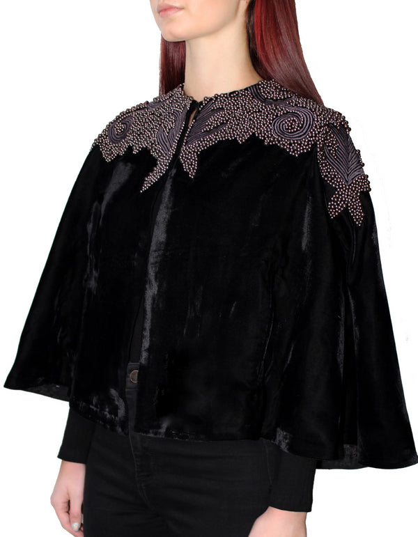 Black Velvet Pearl Collar Cape