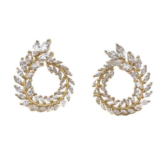 Yellow Gold Petite Leafy Circle Earrings