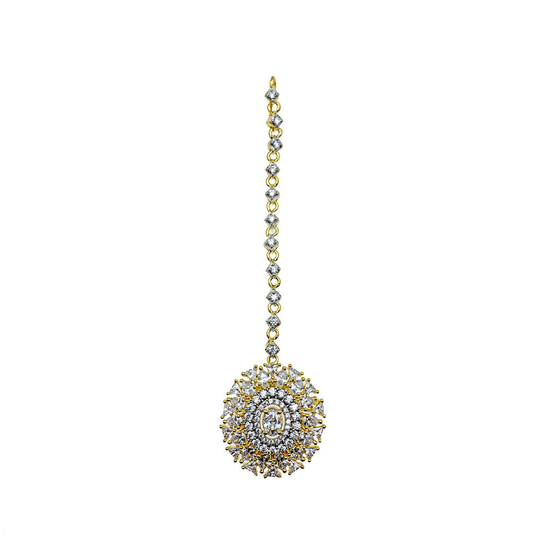 Gold Oval Diamondesque Tikka Headpiece