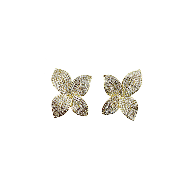 Yellow Gold Pave Flower Earrings