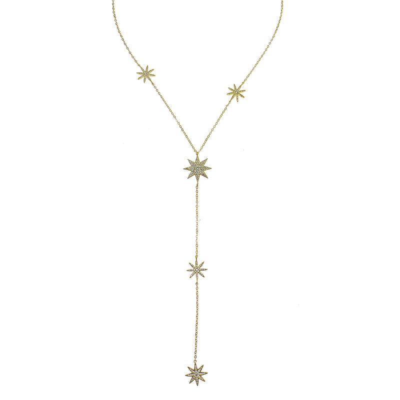 Pave Stars Floating Necklace