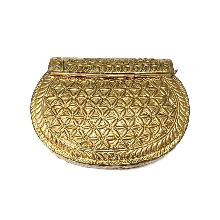 Antique Gold Etched Oval Bag