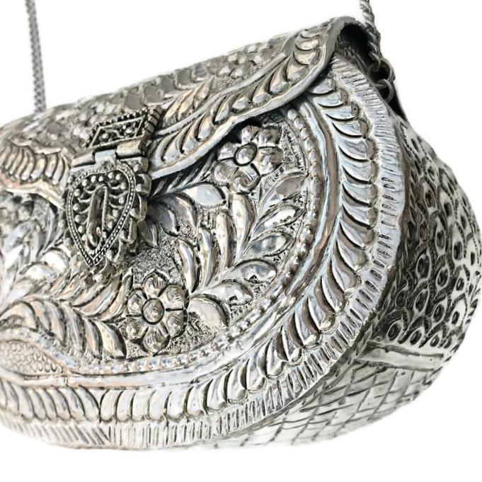 Antique Silver Etched Oval Bag