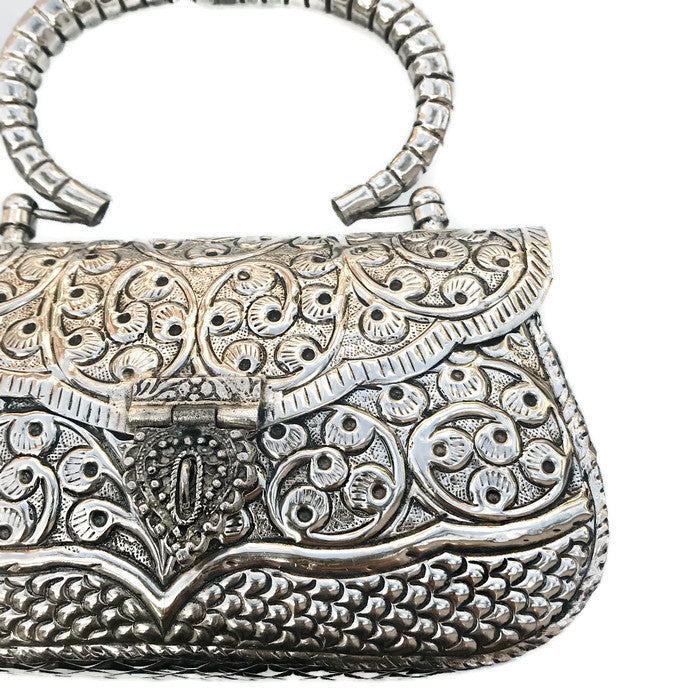 Antique Silver Etched Top Handle Bag
