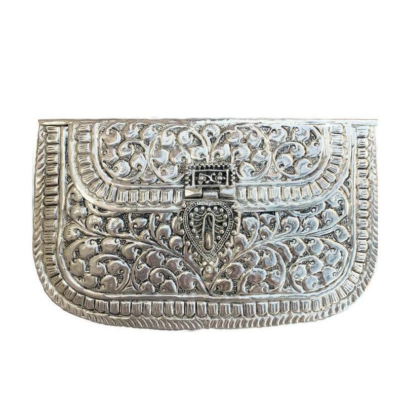 Antique Silver Etched Boho Bag