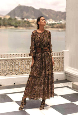 Olive Green Paisley Maxi Dress