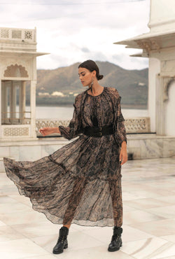 Black Metallic Ruffled Maxi Dress