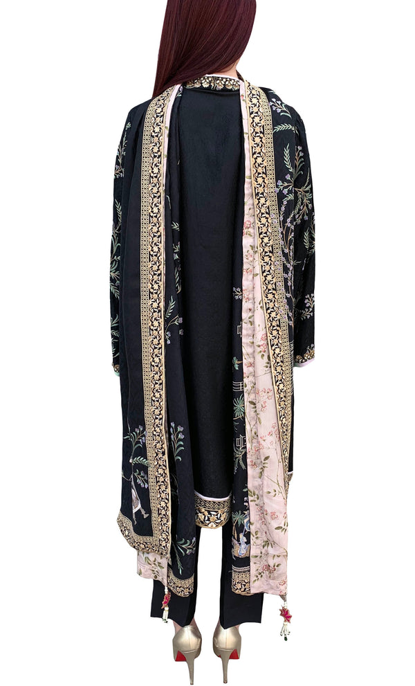 Black Embroidered Shawl Formal