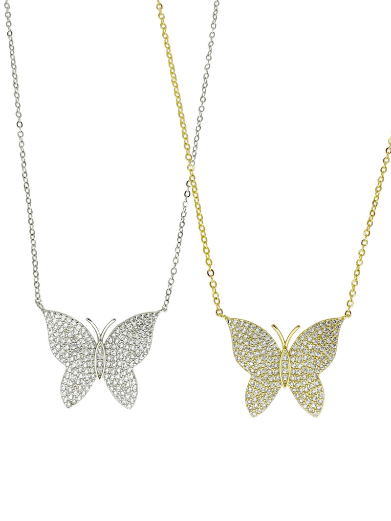 Pave 3D Butterfly Pendant Necklace