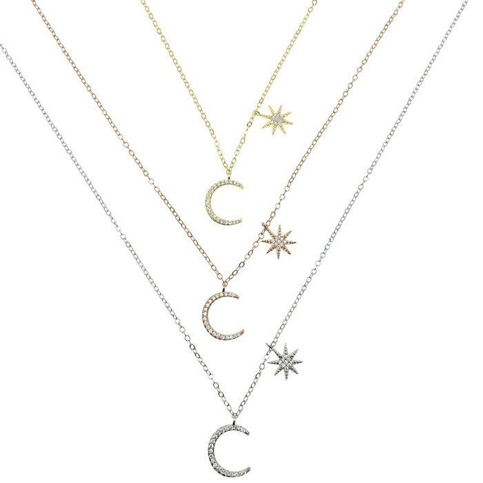 Dainty Moon Star Choker Necklace
