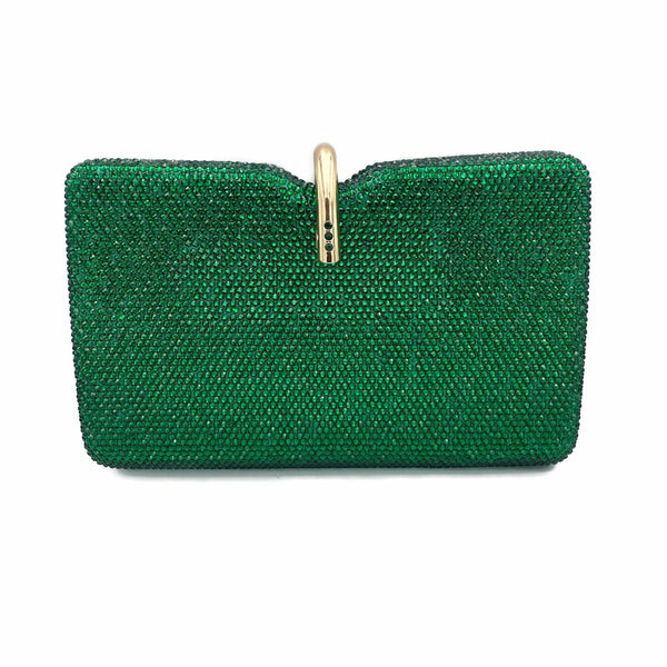 Emerald Top Clasp Crystal Clutch