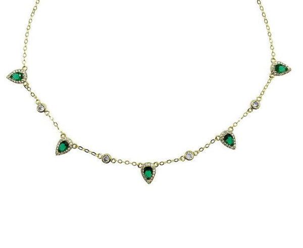 Emerald Drop Halo Necklace