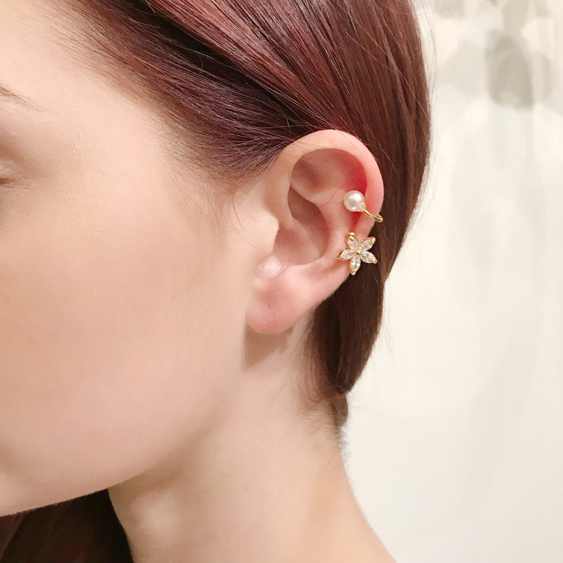Clip on Flower Ear Cuff