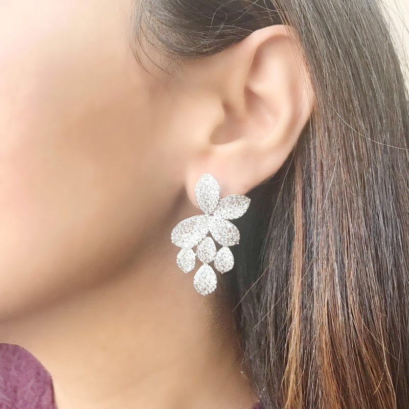 Pave Flower Leaf Earrings