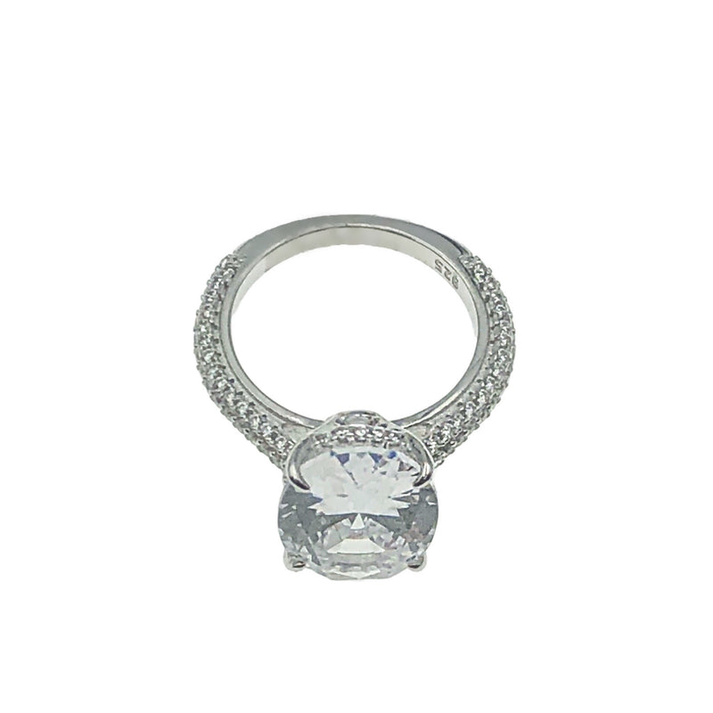 Oval Solitaire Pave Band Ring