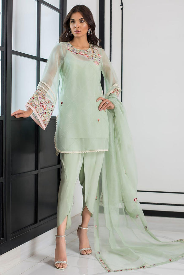 Mint Embroidered Florals Tunic Set