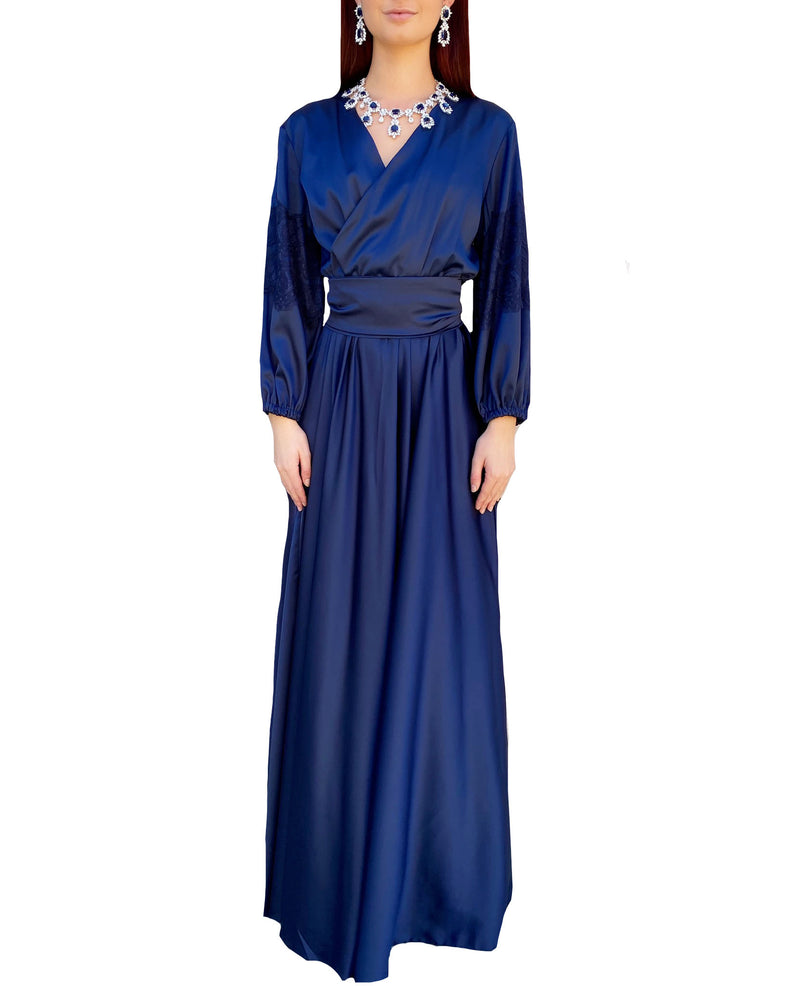 Royal Blue Silky Wrap Lace Maxi Dress