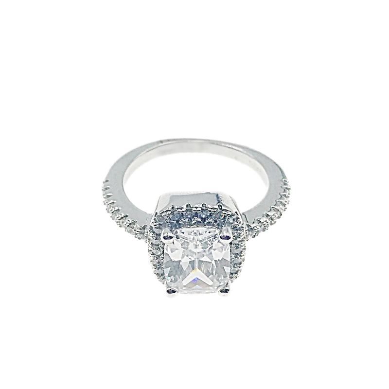 Princess Cut Halo Solitaire Ring