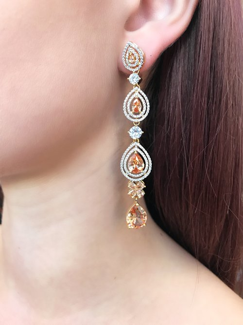 Topaz Teardrop Long Earrings