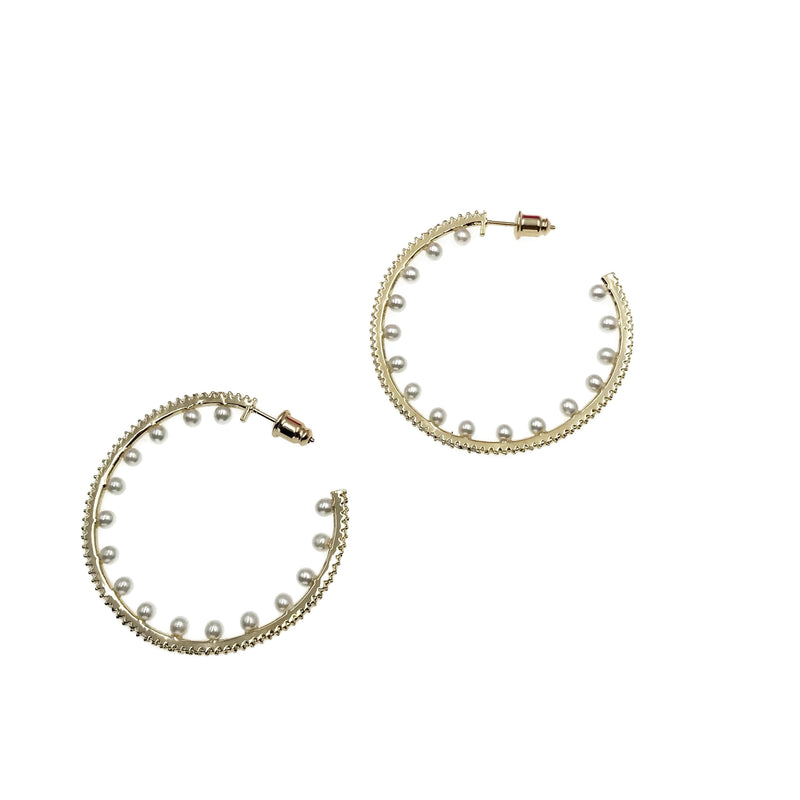 Pearl Diamondesque Hoop Earrings
