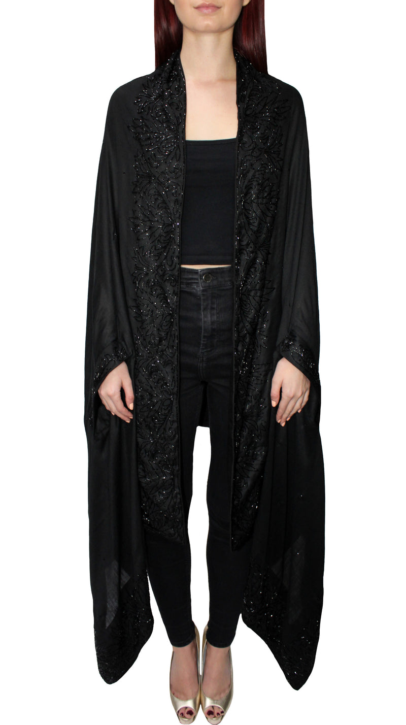 Pure Wool Black Beaded Cape Shawl