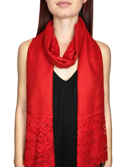 Red Lace Panel Pashmina Shawl