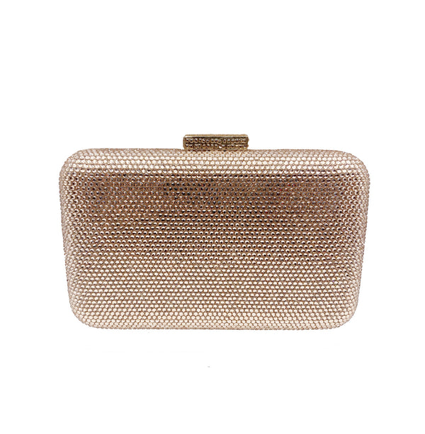 Rose Gold Rectangle Crystal Clutch