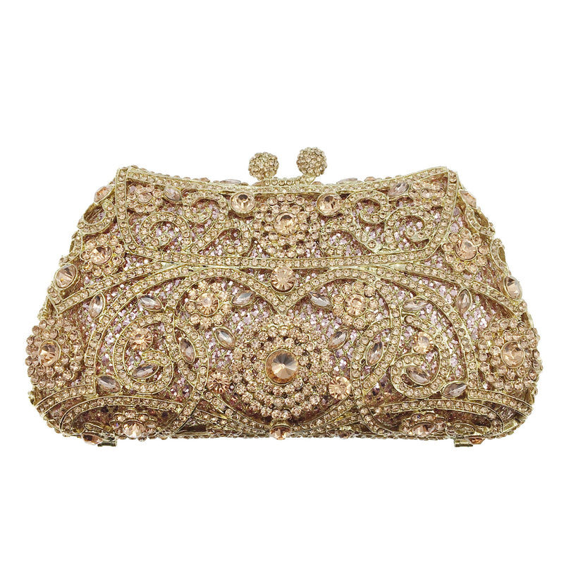Rose Crystal Swirl Clutch