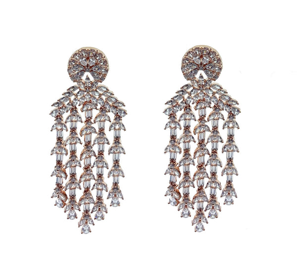 Rose Gold Baguette Drops Earrings