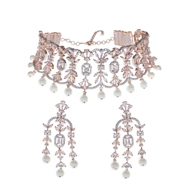 Rose Gold Cutout Choker Necklace and Earrings