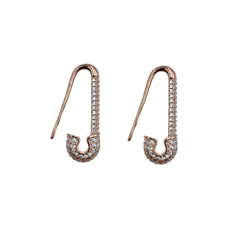 Safety Pin Pave Earrings