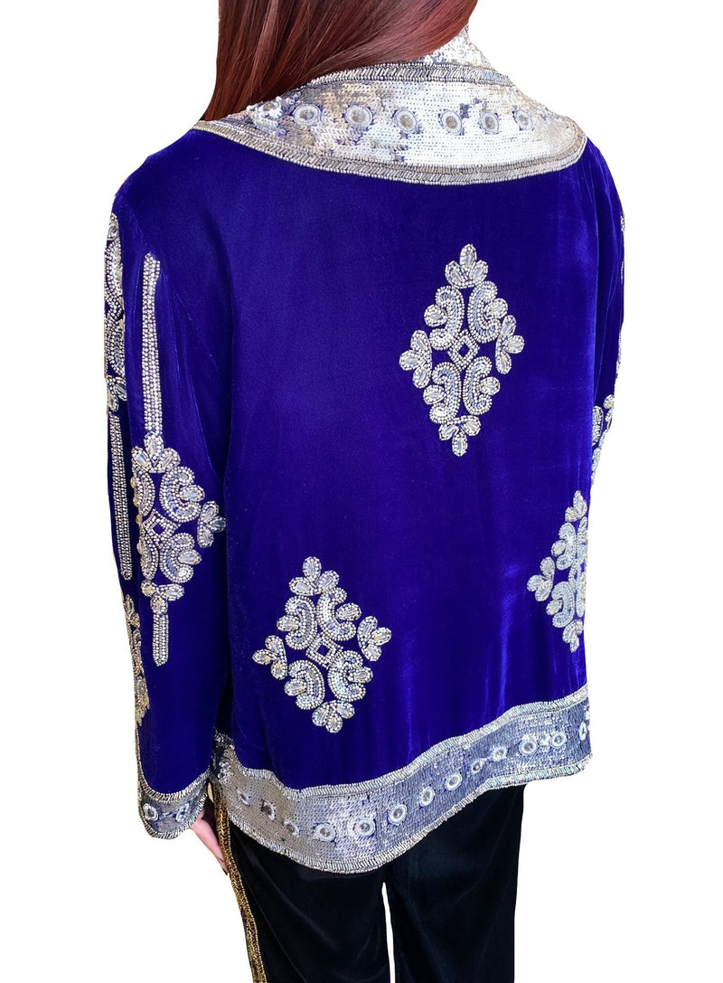 Royal Blue Velvet Beaded Short Jacket
