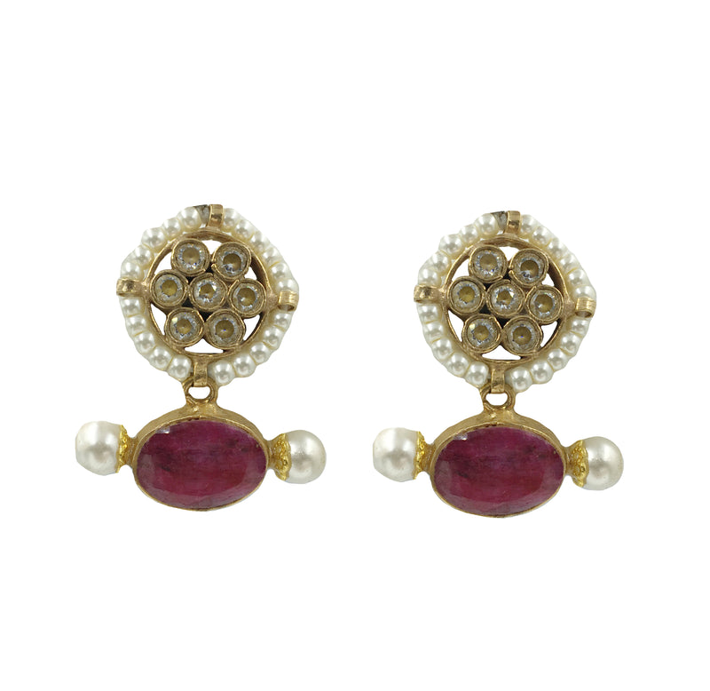 Ruby & Pearl Circle Earrings